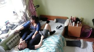 Foot slave gets dominated by his wife
