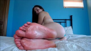 Princess glistening soles close up