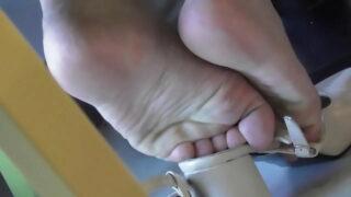 Asian ladies candid feet