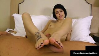 Cute babe takes off crazy converse and foot play