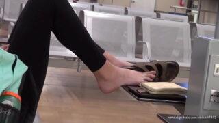Teen feet in airport