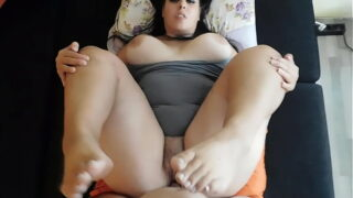 Hot chubby fucked give amazing blowjob and cum with footjob
