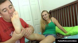 Cute blonde wrinkled soles get her feet worshiped